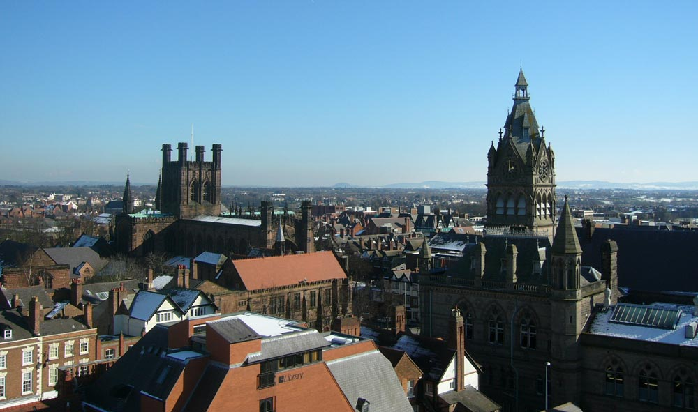 Chester Cathedral and Chester Town Hall