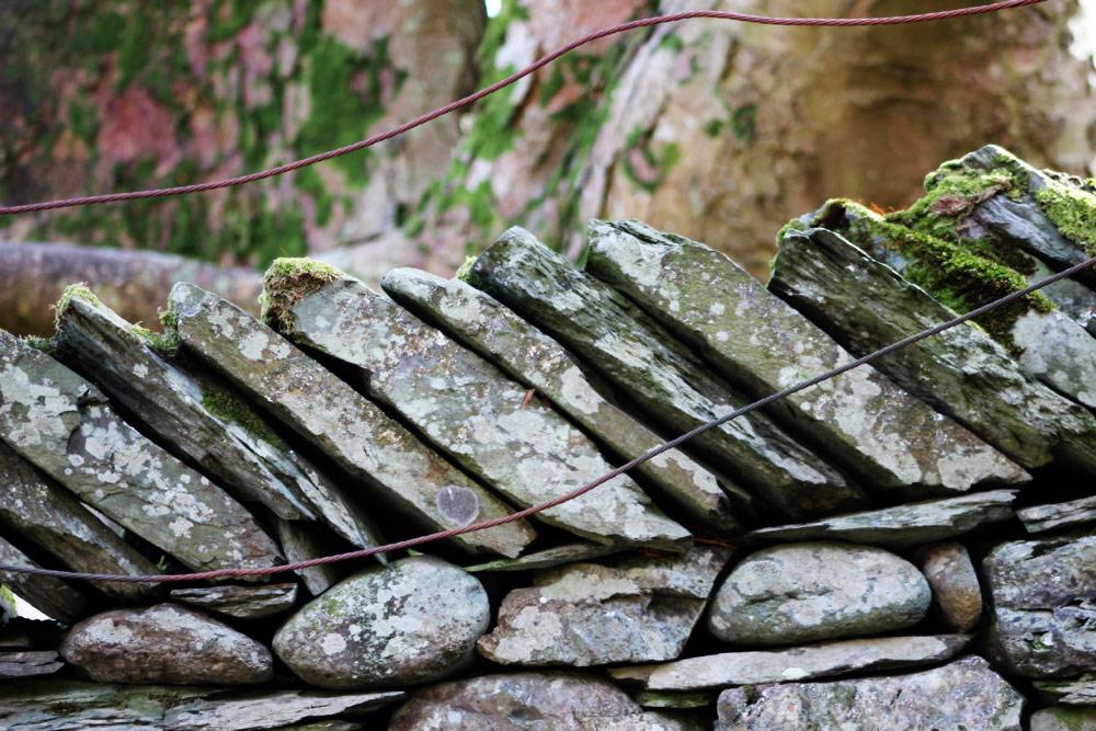 Stone, wire, wood